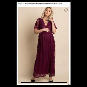 Pink Blush Maternity Burgundy Lace Maternity Dress